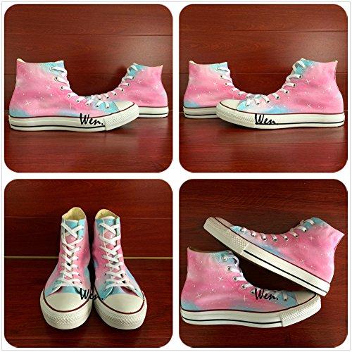 Wen Zapatos Pintados A Mano Originales Pink Galaxy Sky Stars Zapatillas De Lona Mujer Chica