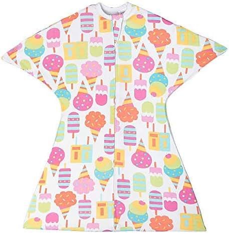 SleepingBaby Food Zipadee-Zip Swaddle Transition Baby Swaddle Blanket with Zipper, Baby Swaddle Wrap and Baby Sleep Sack (Medium 6-12 Months | 18-26 lbs, 29-33 inches| We All Scream for Ice Cream)