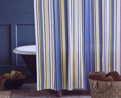 Blue Stripe Grommet Top Fabric Shower Curtain