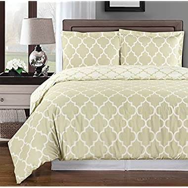 Beige and Ivory Meridian Full / Queen 3-piece Duvet-Cover-Set, 100 % Cotton 300 TC