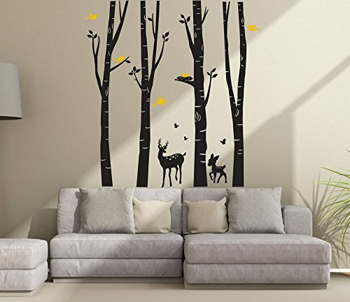 CaseFan Giant Forest Deers Tree Wall Stickers for Kid Baby Nursery Livingroom Background Vinyl Removable Art Mural Wallpaper DIY Decals 94.5×102.4″,Black