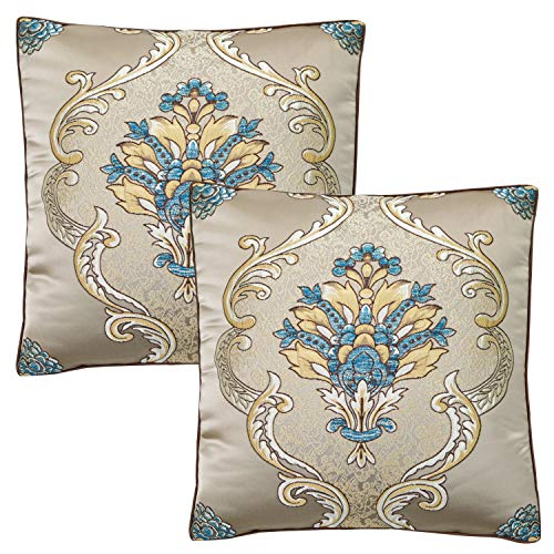 (TEALP Silk Pillowcase Embroidered Pillow Cover Art Silk Square Pillow Covers Damask Floral 18 X 18 inches Gold)