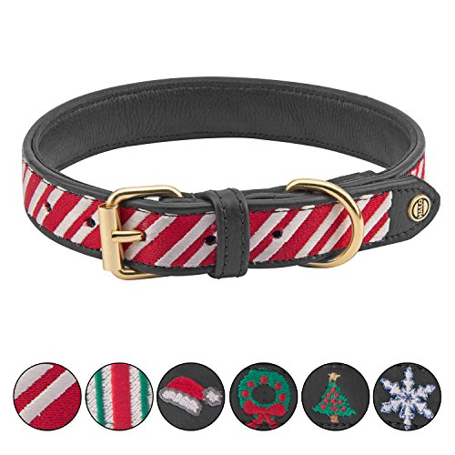 HALO Candycane Padded Adjustable Dog Collars - Genuine Real Leather (Candy Cane Dog Collar)