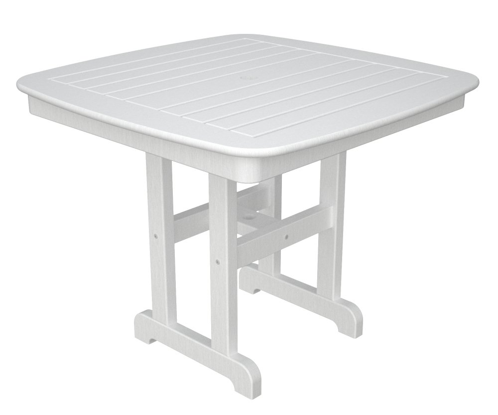 Amazon.com : POLYWOOD Outdoor Furniture Nautical 37 Inch Dining Table,  White Recycled Plastic Materials : Patio Dining Tables : Garden U0026 Outdoor Part 69