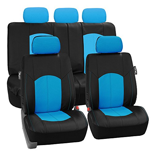 FH Group PU008BLUE115 Full Set Seat Cover (Perforated Leatherette Airbag Compatible and Split Bench Ready Blue)