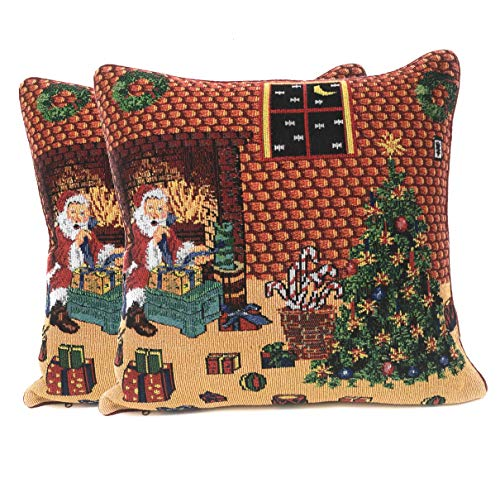 Tache Festive Holiday Last Minute Christmas Eve Preparations Santa's Gifts Christmas Woven Tapestry Cushion Throw Pillow Cover, 2 Piece 16 x 16