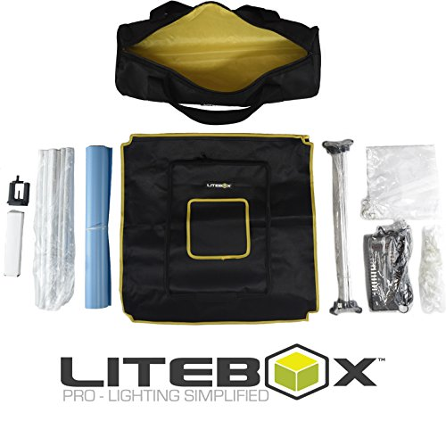 LITEBOX: Photo Studio Light Box Kit (DIMMABLE LED) for photography & 360 videos - Includes Adjustable Lights, Backdrops, Diffuser, Tripod & Travel bag! - 5500K Daylight by LiteBox