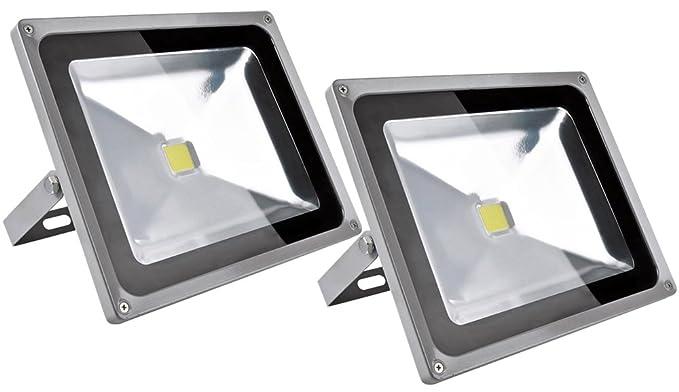 ALPHA DIMA 2X 50W Blanco Frío 6000K LED Foco Proyector Exterior ...