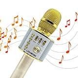Microphone LEKAMXING Wireless Microphone - For all Holiday gifts Party 3-in-1 Portable Hand Speaker Stereo Player KTV Karaoke Mic for Android/iPad/Sony/TV & All Smartphone(Golden)