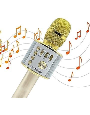 Micrófono Inalámbrico de Bluetooth Karaoke Player Micrófono Color Gold para KTV Karaoke Player Compatible con PC
