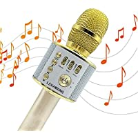 Micrófono Inalámbrico de Bluetooth Karaoke Player Micrófono Color Gold para KTV Karaoke Player Compatible con PC/ iPhone /Android /Smartphone