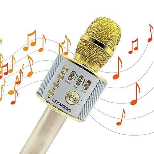 Wireless Bluetooth Karaoke Microphone LEKAMXING Microphone For Holiday gifts & Birthday Day Party Portable Hand Speaker Stereo Player KTV Karaoke Mic for iPhone/Android/iPad/Sony/TV and All (Easy Karaoke Player)