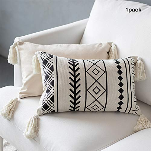 Tassels Lumbar Throw Pillow Cover   Decorative Hand Woven Long Cushion Pillows Case with Distressed Style Black and White Plaid Pillow 12x20 Inches (Pillow Lumbar Textured)