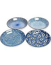 "Kylimate 9.1""(23CM) Large Porcelain Bowl Set, 34 Ounce, Set of 4, Shallow Bowls for Pasta, Salad, Cereal, Assorted Four Classical Blue Patterns."