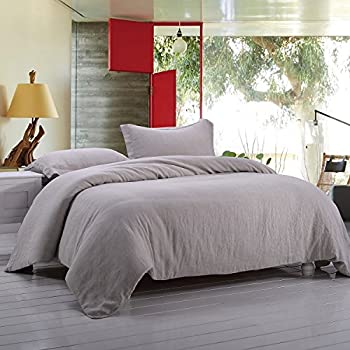 Simple&Opulence 100% Linen Stone Washed 3pcs Basic Style Solid Duvet Cover Set (Queen, Linen)