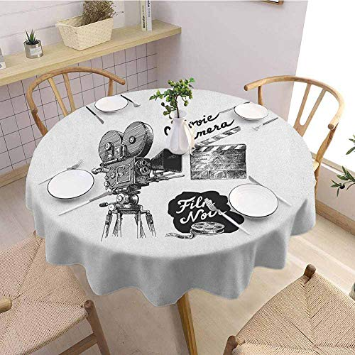 """DILITECK Movie Theater Waterproof Round Tablecloth Antique Movie Camera Hand Drawn Style Art Collection Film Noir Genre Theme Outdoor Picnic Diameter 70"""" Black White from DILITECK"""