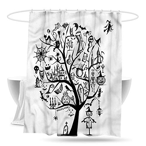 Sweet decoration Shower Curtain with Hooks Halloween Flying