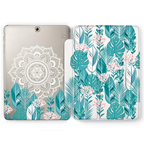 Wonder Wild Greenery Mandala Samsung Galaxy Tab S4 S2 S3 Smart Stand Case 2015 2016 2017 2018 Tablet Cover 8 9.6 9.7 10 10.1 10.5 Inch Clear Design Boho Geometrical Floral Monstera Flowers Indian