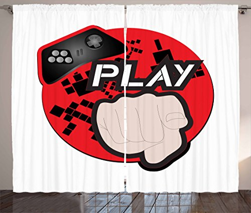 Gamer Curtains by Lunarable, Gaming Illustration with Play Quote and Pointing Finger Abstract Squares Design, Living Room Bedroom Window Drapes 2 Panel Set, 108 W X 108 L Inches, Cream Black Red by Lunarable