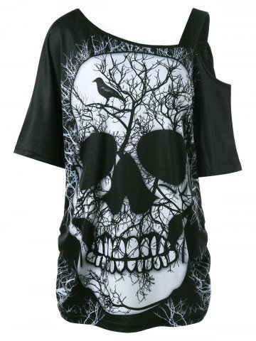 Chuanqi Plus Size Womens Skull Print Cold Shoulder Strappy Short Sleeve Long T Shirt