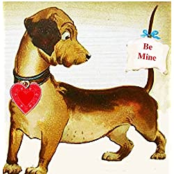 Valentine Dachshund, Handcrafted Wooden Ornament Gift Tag Card, Dog Doxie Lover, Puppy Magnet, Boyfriend Kids Gift, Package Topper