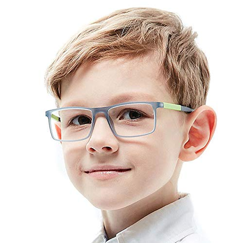 Kids Glasses Frame Square Flexible Smart Looks Cute Gray Teens Eyewear Frame with Clear Lens for Boys Girls(Age 5-12) ()