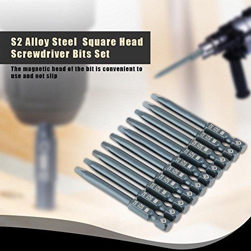 10pcs S2 alloy steel Square Head Screwdriver Bits Kit,6.3mm 1/4 Hex Shank Magnetic 65mm S2 alloy steel Square 2.5mm Head Screwdriver Bits Kit by Walfront (Image #3)