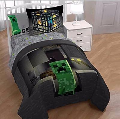Minecraft Builders Boys Full Comforter, Sheets & BONUS PILLOW SHAM J (6 Piece Bed In A Bag) + HOMEMADE WAX MELTS