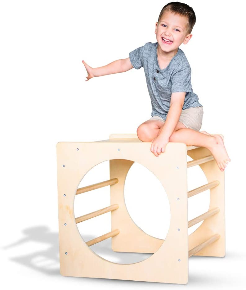 Tottlr Pikler Climbing Cube and Tunnel - CPSIA Certified Safe - Pikler Climbing Gym for Toddlers & Kids - Indoor Climbing Toy - Ages 3-5 Years