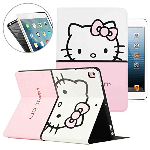 New iPad 9.7 2018 2017 iPad Air/Air 2 / Pro 9.7'' Case, Hello Kitty Pattern Folio Style Smart Cover, Pu Leather Soft TPU Back Case with Multi-Angle Stand & Auto Sleep/Wake (White)