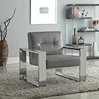 Iconic Home Colton Modern Contemporary Sculptural Polished Nickel - Finished Stainless Steel Leatherette Accent Chair, Grey