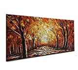 baccow 2448 Large Abstract Forest Contemporary Artworks 3D Hand Painted Texture Tree Painting on Canvas Palette Kinfe Framed Wall Art Living Room Bedroom Office Hallway Home Decorating Pictures