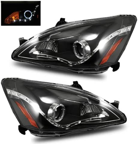 FOR 03-07 ACCORD COUPE//SEDAN//HYBRID BLACK//CLEAR CORNER HEADLIGHTS REPLACEMENT