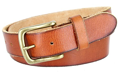 (Full Grain Classic Oil-tanned Genuine Leather Casual Jean Belt (Tan, 36))