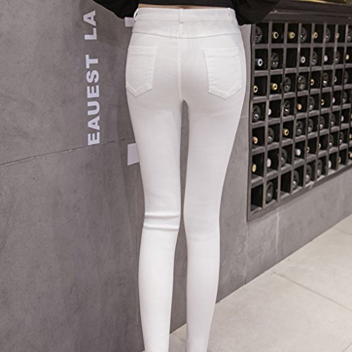 A Matita Strappati Mengonee Jeans Donne Fish Net In Vita Skinny Denim Big Hole Pants Bianca Alta wIqq7HXW