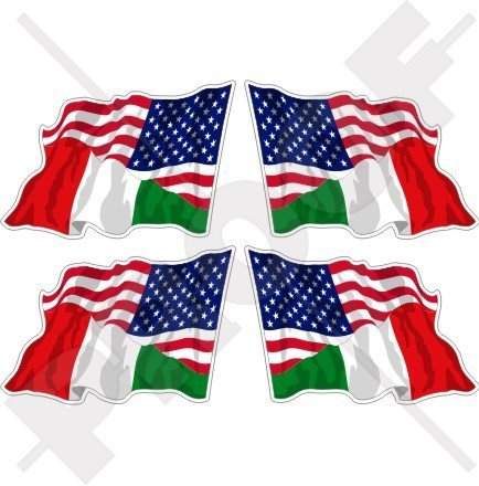 Flag Italy Helmet - USA United States of America & ITALY Waving Flag, American & Italian 2