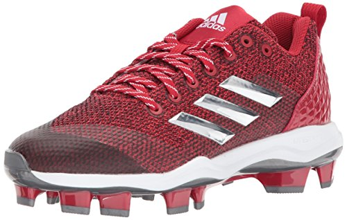 adidas Men's Freak X Carbon Mid Softball Shoe, Power Red/Metallic Silver/White, 10 Medium US (Shoe Mid Softball)