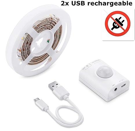 2x LED Strip 1M LED Strip Light con Sensor de movimiento/USB Recargable Light Light