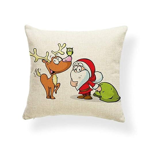 JJXUZ Cojín de Papá Noel de Dibujos Animados Feliz Navidad ...