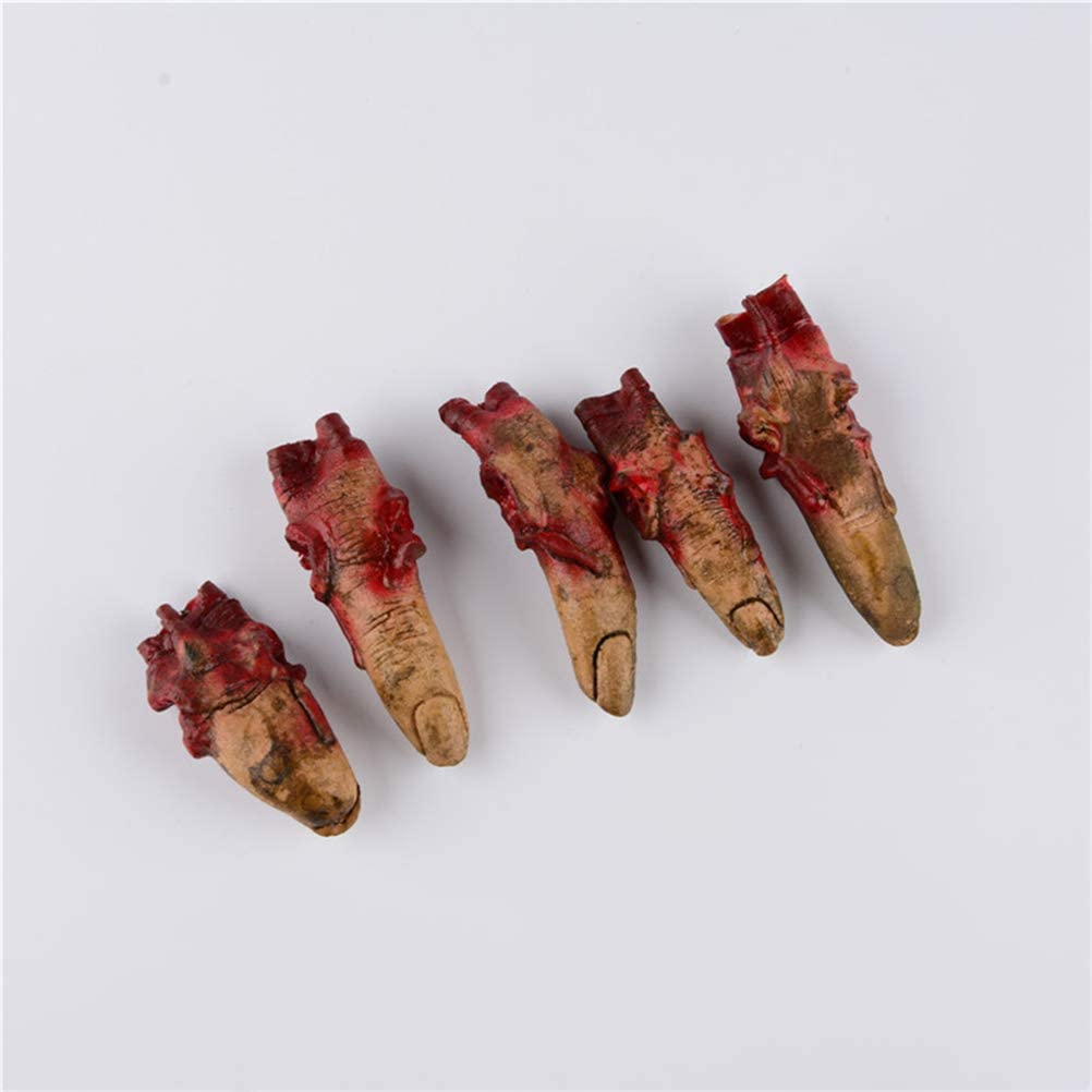 Bloody Fake Fingers Realistic Severed Fingers Horror Scary Toys for Homemade Halloween Decoration 5 Fingers
