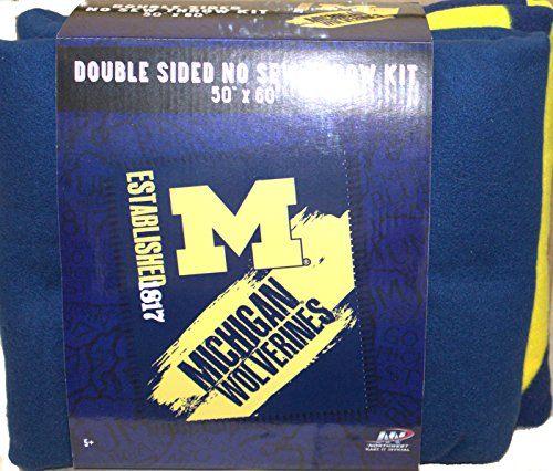 The Northwest Company NCAA Michigan Wolverines Double Sided No Sew Fleece Blanket Kit
