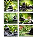 "Infinity Creations Inspirational Zen/Spa Wall Photo Art: Set of 6-Relax and Motivate Beauty UNFRAMED Photo Art Prints (8""x10"")"