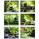 Inspirational Zen/Spa Wall Art: Set of 6-Relax and Motivate Beauty Unframed Poster Art (8''x10'')