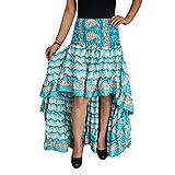 Mogul Interior Womens Asymmetrical Skirt Recycled Sari Free Falling High Low Ruffle Skirts