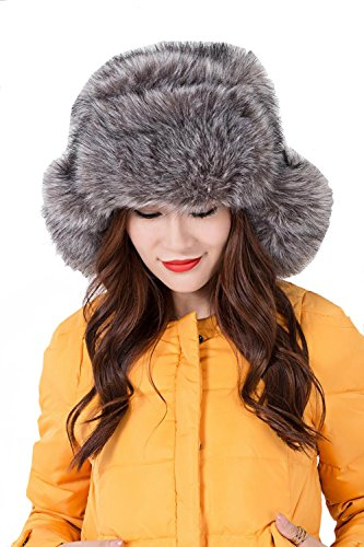Crazy Genie Unisex Faux Fox Fur Winter Thick Warm Trapper Snow Hat Cap with Ear Flap for Skiing (Smoke (Horn Trapper)