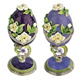 Russian Faberge-Style Enameled Egg - Set of 2
