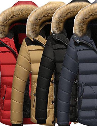 Mens Faux Fur Removable Hooded Down Jacket Fleece Lined Outwear