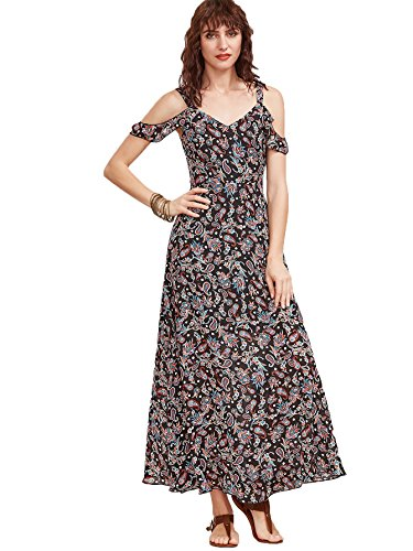 Floerns Women's Sleeveless Halter Neck Vintage Floral Print Maxi Dress Medium Multicolor