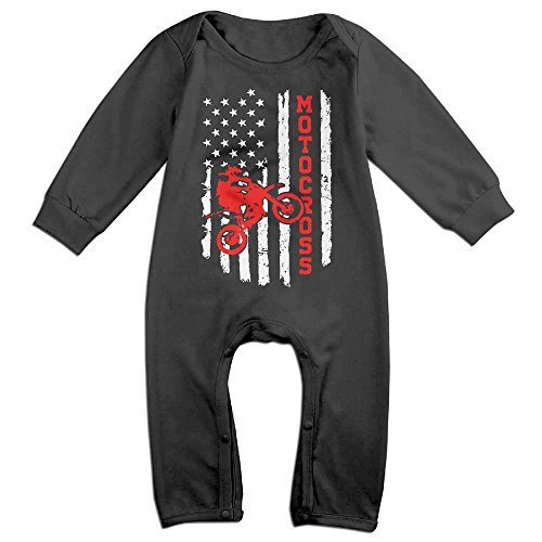 XHdo-4 Cute American Flag Motocross Dirt Bike Vintage Toddler Unisex Infant Baby Boy Girl Long Sleeve Romper Jumpsuit Onesies Clothes Outfit