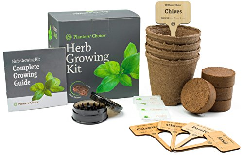 Planters' Choice Organic Herb Growing Kit + Herb Grinder - Complete Kit to Easily Grow 4 Herbs from Seed (Basil, Cilantro, Chives & Parsley) with Comprehensive Guide | Unique Gift by Planters' Choice (Image #1)